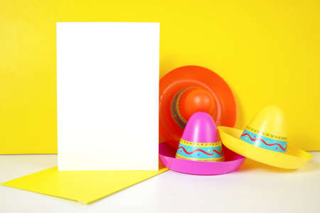 Cinco de Mayo greeting card mockup against a festive yellow background