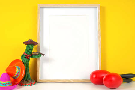 Cinco de Mayo vertical frame mockup against a festive yellow background.