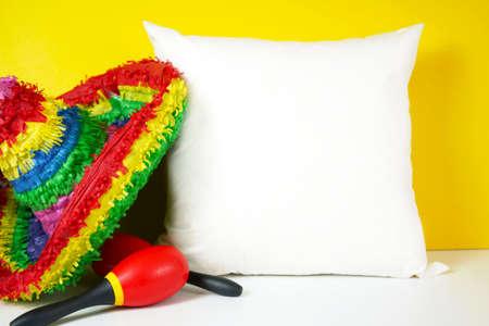 Cinco de Mayo throw cushion mockup against a festive yellow background.