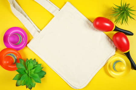 Cinco de Mayo tote bag flatlay on bright yellow table background