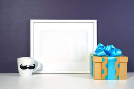 Fathers Day or masculine birthday theme horizontal frame styled with gifts.