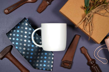 Fathers Day or masculine birthday theme white coffee cup flatlay mockup.
