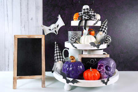 Halloween Farmhouse trick or treat product mockup with skull gnome and pumpkins.