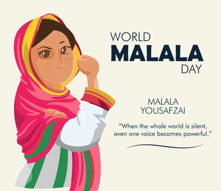 World Malala Day, Malala Yousafzai quote, poster, illustration vector Vecteurs