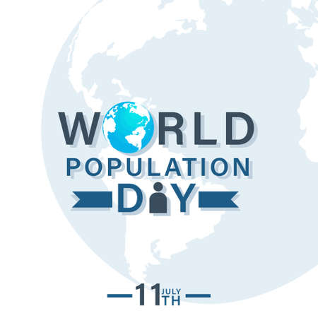 World population day, 11th July text design template, poster for web, vector illustration
