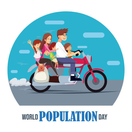 World population day, flat illustration of whole family with pet dog on a motorbike, motorcycle poster, vector Illustration