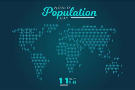 World Population Day, blue map background, poster for web, vector illustration