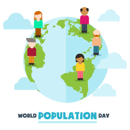 World Population Day, cartoon people, friendship on Earth globe, poster, template for web, vector illustration