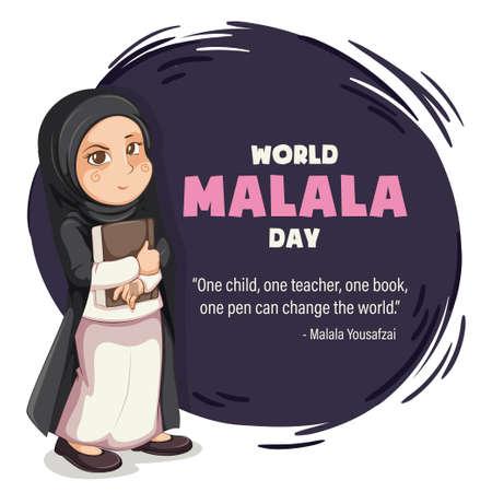 World Malala Day, 12th July, Malala Yousafzai quote, women education, poster, illustration vector