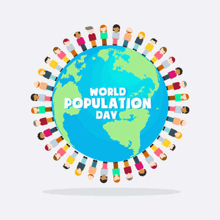 World Population Day, Earth globe, people, infographics poster, vector illustration