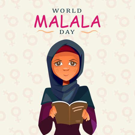 World Malala Day, 12th July, Malala Yousafzai, women reading book, education, poster, illustration vector