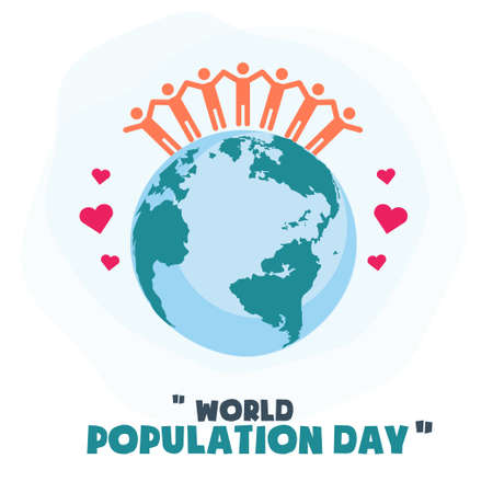 World Population Day, people friendship on Earth globe, poster, template for web, vector illustration