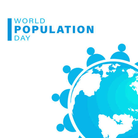 World Population Day, Earth globe, poster, template for web and presentation, vector illustration