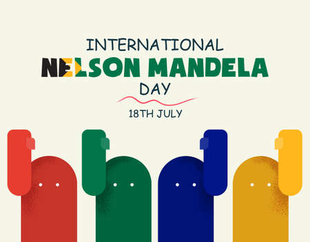 International Nelson Mandela Day, 18th July, abstract African flag color people, poster, illustration vector
