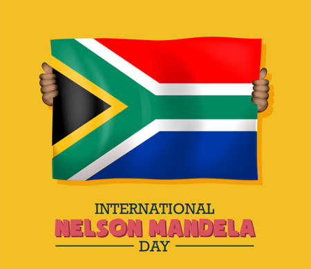 International Nelson Mandela Day, 18th July, African flag, poster, illustration vector