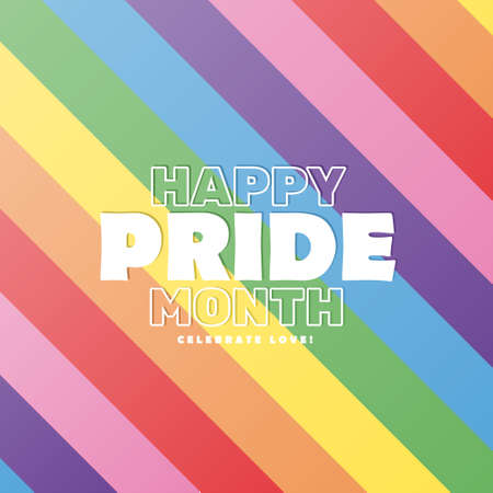 Happy pride month colorful background poster, LGBT vector illustration