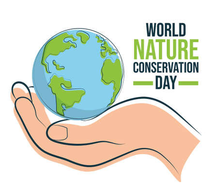 World Nature Conservation Day, Earth on hand symbol of care and protection, poster for web, illustration vector