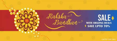 Raksha Bandhan sale banner, rakhi sale with amazing deals, save upto 70% poster, vector illustration  イラスト・ベクター素材