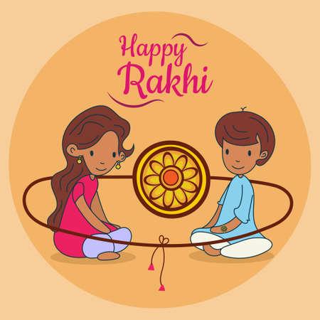 Happy Raksha Bandhan, Rakhi, brother and sister love greeting poster, card, vector illustration  イラスト・ベクター素材