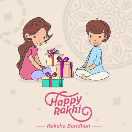Happy Raksha Bandhan, Rakhi, brother and sister love and gifts greeting poster, card, vector illustration