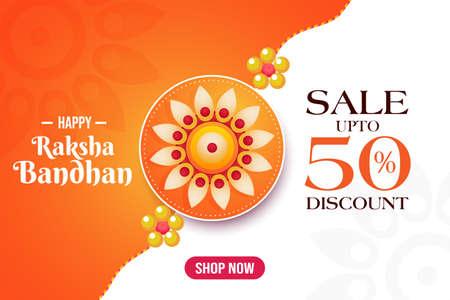 Happy Raksha Bandhan sale banner, discount upto 50%, shop now poster, beautiful rakhi template, vector