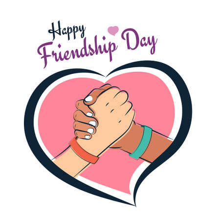 Happy Friendship Day, friends shake hands with love and heart illustration poster, vector 向量圖像