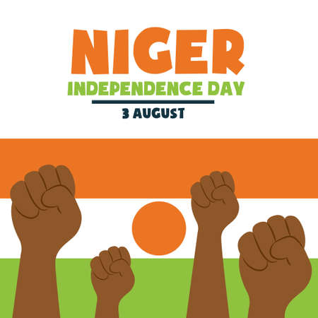 Happy Independence day Niger, 3 August, Flag and people hands poster, flat illustration, vector 矢量图像