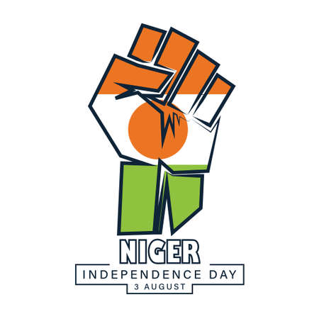 Happy Independence day Niger, 3 August, Flag and hand effect poster, flat illustration, vector 矢量图像