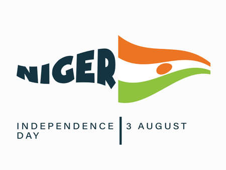 Happy Independence day Niger, 3 August, Flag effect poster, flat illustration, vector 矢量图像