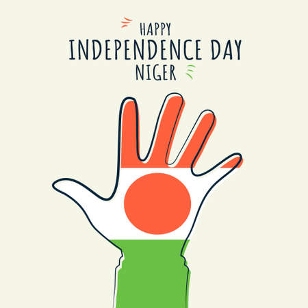 Happy Independence day Niger, Flag on hand palm, poster, flat illustration, vector 矢量图像
