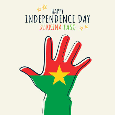 Happy Independence day Burkina Faso, Flag on hand palm, poster, flat illustration, vector