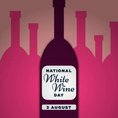 National White Wine Day, 3 August, sketchy poster flat illustration, vector
