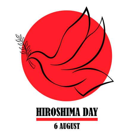 Hiroshima Day, 6 august, peace dove bird poster, flat illustration, vector
