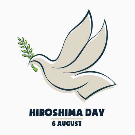 Hiroshima Day, 6 august, colored flying dove bird poster, flat illustration, vector