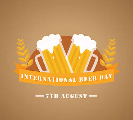 International Beer Day, 7th August poster, flat illustration, vector