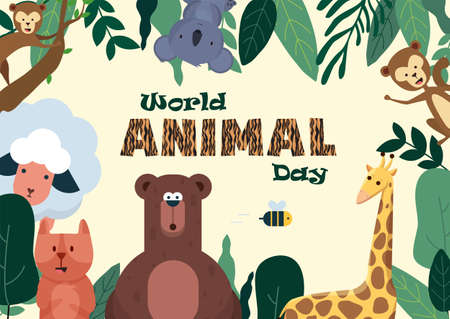 World Animal Day poster with cute illustrations of animals such as Koala, Giraffe, Sheep, Monkey, etc,, vector
