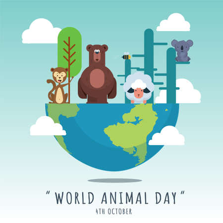 World Animal Day banner, 4th October, wildlife poster with cute animal illustrations, vector