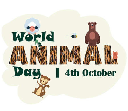 World Animal Day, 4 October, poster with cute illustrations of animals such as Bear, Sheep, Monkey, etc, vector