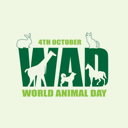 World Animal Day poster, 4th October, wildlife silhouette banner, vector illustration
