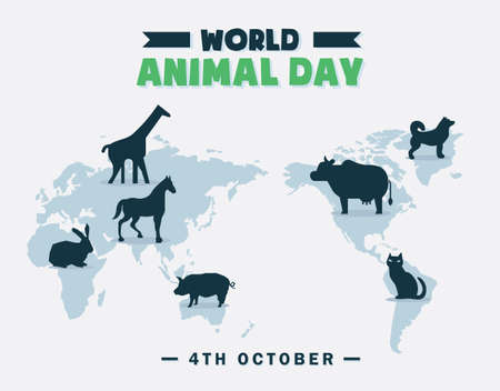 World Animal Day banner, 4th October, wildlife poster with animal silhouette illustrations, vector