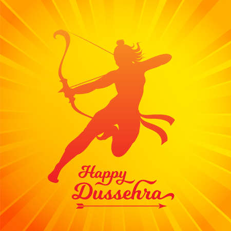 Happy Dussehra beautiful greeting poster with Ram silhouette vector