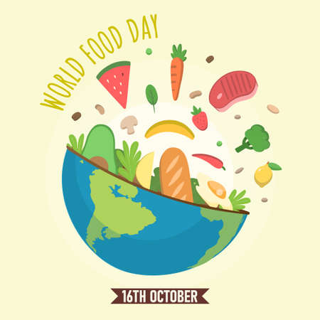 World Food Day, 16th October, fruit and vegetable illustration vector