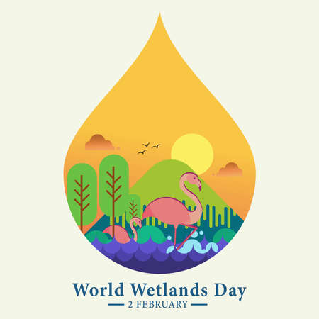 World Wetlands Day, 2nd February, poster with landscape and swan illustration, vector graphic