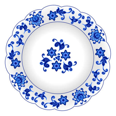 Porcelain plate with decorative pattern