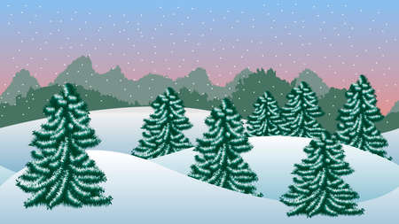 Winter background with fir trees and snow
