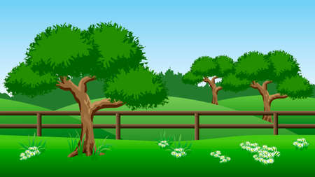 Summer landscape background. Scene with green trees, hills and chamomiles. Horizontally seamless, can be used in game asset. Vector illustration