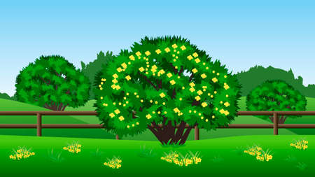 Summer landscape background. Scene with green trees, hills, grass and yellow flowers. Horizontally seamless, can be used in game asset. Vector illustration