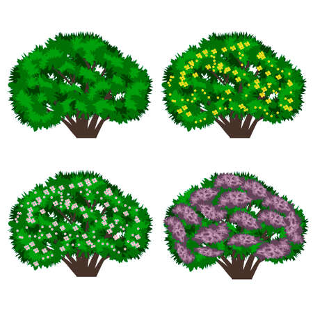 Summer landscape background. Scene with lilac bushes, hills, grass, pink flowers. and chamomiles.  Horizontally seamless, can be used in game asset. Vector illustration