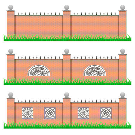 metal grate: Set of manor or garden fences. Brick stone and decorative iron grille. Use as elements for scene creating. Objects isolated on white background, vector illustration Illustration