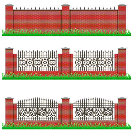 grille: Set of manor or garden fences. Brick stone and decorative iron grille. Use as elements and details for scene creating. Objects isolated on white background, vector illustration